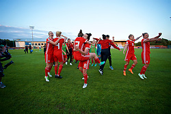 NEWPORT, WALES - Tuesday, June 12, 2018: Wales players celebrate at the final whistle after beating Russia 3-0 during the FIFA Women's World Cup 2019 Qualifying Round Group 1 match between Wales and Russia at Newport Stadium. Rhiannon Roberts, captain Sophie Ingle, Rachel Rowe, Angharad James, Jessica Fishlock, Loren Dykes. (Pic by David Rawcliffe/Propaganda)