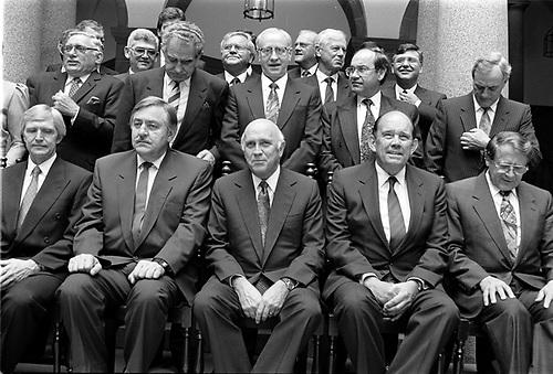 SOUTH AFRICA DE KLERK CABINET POLITICS Front Row, Left To Right: Dawie De  Villiers.