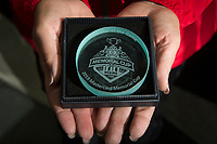 REGINA, SK - MAY 20: Commemorative puck for the star of the game at the Brandt Centre on May 20, 2018 in Regina, Canada. (Photo by Marissa Baecker/CHL Images)
