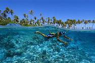 Split image of Marshalhese boy  and coconut trees, Ailuk island, Ailuk atoll, Marshall Islands, Pacific