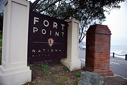 National Park Service welcome sign for Fort Point National Historical Park, San Francisco, California
