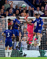 LONDON, ENGLAND - Saturday, September 29, 2018: Liverpool's goalkeeper Alisson Becker punches the ball under pressure from Chelsea's Álvaro Morata during the FA Premier League match between Chelsea FC and Liverpool FC at Stamford Bridge. (Pic by David Rawcliffe/Propaganda)