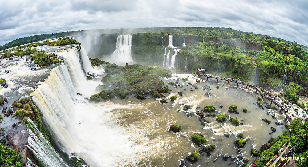 A Fish-Eye of View of The Santa Maria Viewing Platform at the Iguazu Falls from the Brazilian Side