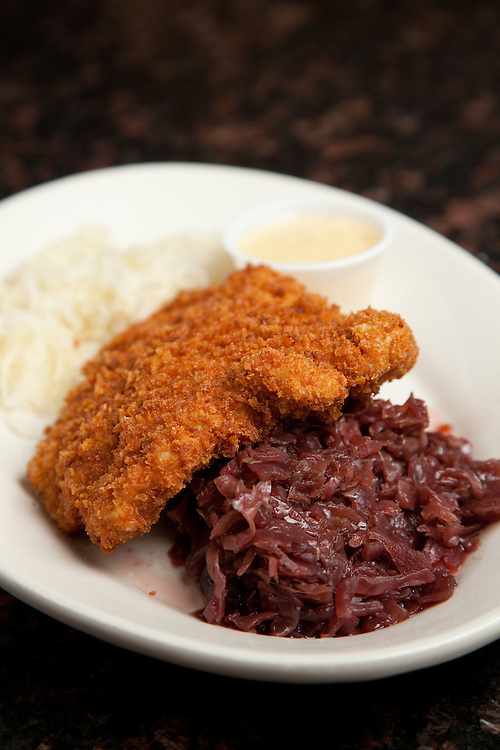 The Pork Schnitzel at Rhine Haus Eatery and Pub in St. Louis, MO.