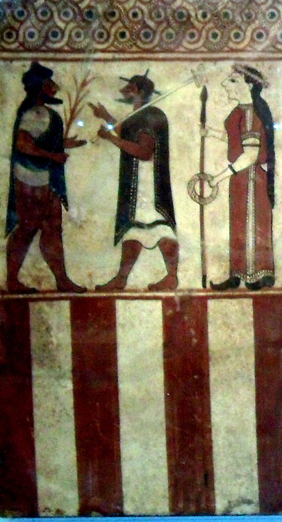 Five painted terracotta plaques, Etruscan, about 560-550 BC, from Cerveteri.  The plaques, from a small chamber-tomb in the Banditaccia cemetery, are known as the Boccanera plaques after the two brothers who found them in 1874.  The pair with sphinxes probably flanked the interior of the doorway while the three plaques with the figural scene covered the rear wall.  The subject is taken from Greek mythology.