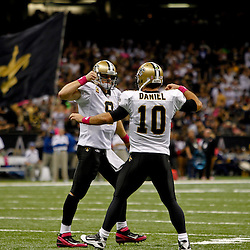 October 23, 2011; New Orleans, LA, USA; New Orleans Saints quarterback Drew Brees (9) and backup quarterback Chase Daniel (10) celebrate a touchdown during the first quarter of a game against the Indianapolis Colts at the Mercedes-Benz Superdome. Mandatory Credit: Derick E. Hingle-US PRESSWIRE / © Derick E. Hingle 2011