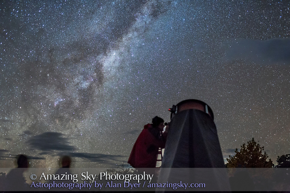 Observers at the 2017 OzSky Star Party in Australia looking up into the southern Milky Way.
