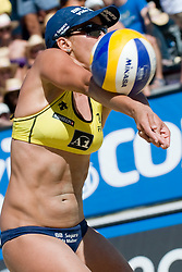 Vivian Danielle da Conceicao Cunha of Brazil receives the ball at A1 Beach Volleyball Grand Slam tournament of Swatch FIVB World Tour 2010, final, on July 31, 2010 in Klagenfurt, Austria. (Photo by Matic Klansek Velej / Sportida)