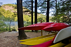 Kayaks at Echo Lake State Park in North Conway, New Hampshire. White Mountains.