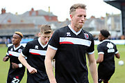 Grimsby Town defender Danny Collins (6) warming up prior to  the EFL Sky Bet League 2 match between Grimsby Town FC and Port Vale at Blundell Park, Grimsby, United Kingdom on 10 March 2018. Picture by Mick Atkins.
