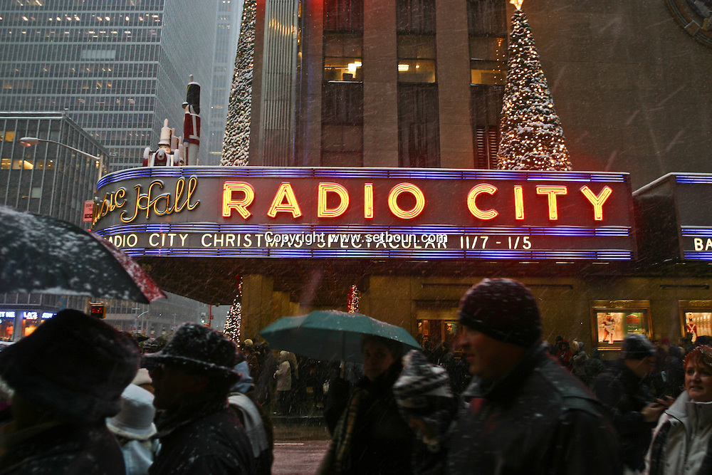 New York snow on Radio city music hall on 6th avenue, christmas tree and decoration