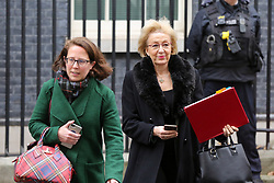 "© Licensed to London News Pictures. 18/12/2018. London, UK. Baroness Evans - Lord Privy Seal and Leader of the House of Lords (L ) and Andrea Leadsom - Lord President of the Council and Leader of the House of Commons (R) departs from No 10 Downing Street after attending the weekly Cabinet Meeting that discussed the preparations for a ""No Deal"" Brexit. Photo credit: Dinendra Haria/LNP"