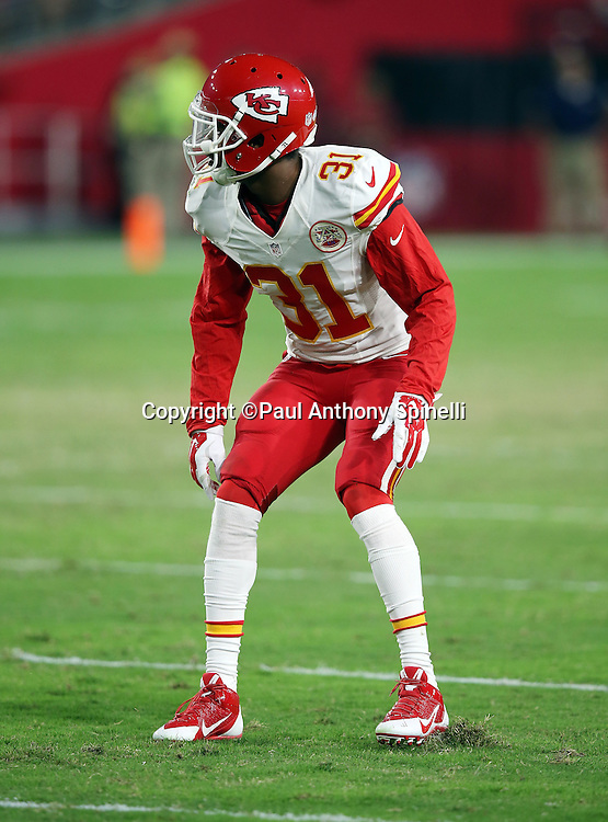 Kansas City Chiefs cornerback Marcus Cooper (31) makes a move during the 2015 NFL preseason football game against the Arizona Cardinals on Saturday, Aug. 15, 2015 in Glendale, Ariz. The Chiefs won the game 34-19. (©Paul Anthony Spinelli)