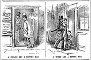 Savings Bank: 'A Foolish and a Betting Man' and 'A Wise and a Better Man' cartoon from 'Punch' London 1852 on the folly of profligacy of smoking and betting and the wisdom and prudence of saving.