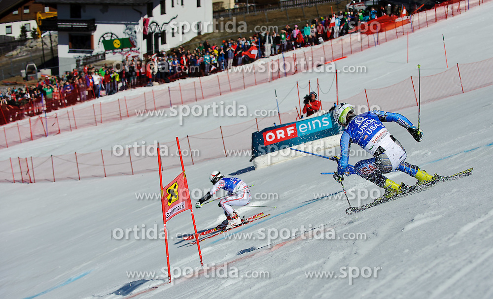 16.03.2012, Planai, Schladming, AUT, FIS Weltcup Ski Alpin, Teambewerb, im Bild Philipp Schoerghofer (AUT) und Tim Jitloff (USA) // Philipp Schoerghofer of Austria and Tim Jitloff of USA during Nation Team Event of FIS Ski Alpine World Cup at 'Planai' course in Schladming, Austria on 2012/03/16. EXPA Pictures © 2012, PhotoCredit: EXPA/ Sandro Zangrando