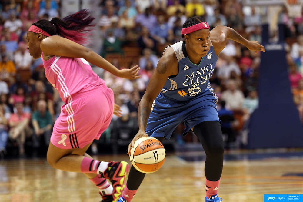 Rebekkah Brunson, Minnesota Lynx, in action during the Connecticut Sun Vs Minnesota Lynx, WNBA regular season game at Mohegan Sun Arena, Uncasville, Connecticut, USA. 27th July 2014. Photo Tim Clayton