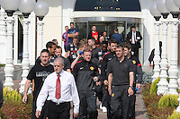 Manchester United players take a short walk around the Grand Hotel Italia, in Cluj-Napoca, Romania, 450 km north west from Bucharest, tuesday 2 october 2012, before the game against CFR Cluj, in group H of Champions League.