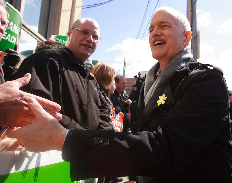 NDP leader Jack Layton greets supporters during a campaign stop in Kitchener, Ontario, March 29, 2011. Canadians will be heading to the polls May 2.<br /> AFP/GEOFF ROBINS/STR
