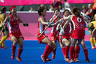 Olympics 2012, hockey, Ai Murakami congratulated for scoring a stroke on golden goal during extra time