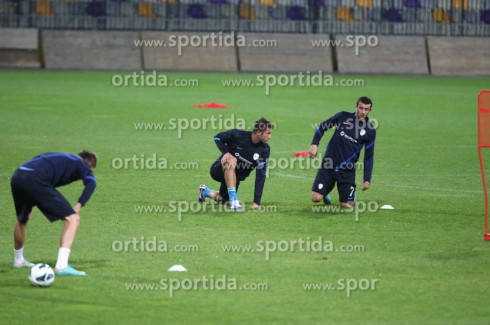 Players during official training session of Slovenian National football team before World Cup Qualifications match against Cyprus on October 10, 2012 in Stadium Ljudski vrt, Maribor, Slovenia. (Photo By Gregor Krajncic / Sportida)