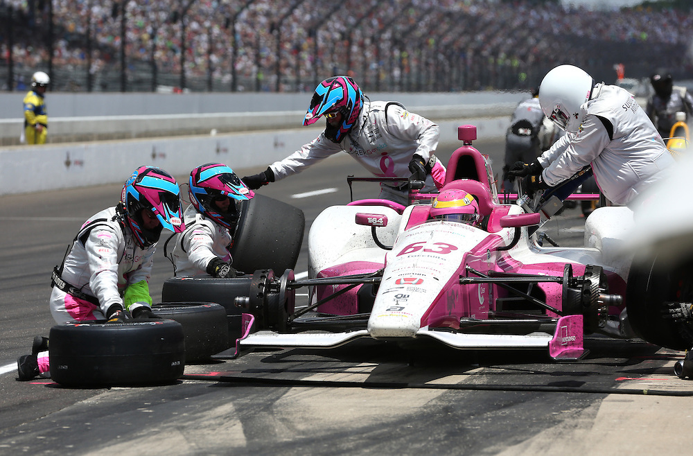Pippa Man completes a pit stop during the 100th running of the Indianapolis 500 May 29, 2016.