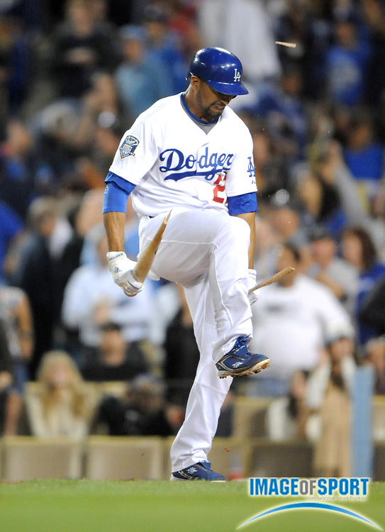 June 2, 2008; Los Angeles, CA, USA; Los Angeles Dodgers center fielder Matt Kemp (27) breaks his bat over his knee after striking out with the bases loaded for the final out in the ninth inning of 5-4 loss to the Chicago Cubs at Dodger Stadium.