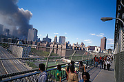 September 11 2001. View from Manhattan bridge after both World Trade Center towers have collapsed.