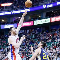 25 January 2016: Detroit Pistons center Aron Baynes (12) goes for the sky hook over Utah Jazz center Jeff Withey (24) during the Detroit Pistons 95-92 victory over the Utah Jazz, at the Vivint Smart Home Arena, Salt Lake City, Utah, USA.