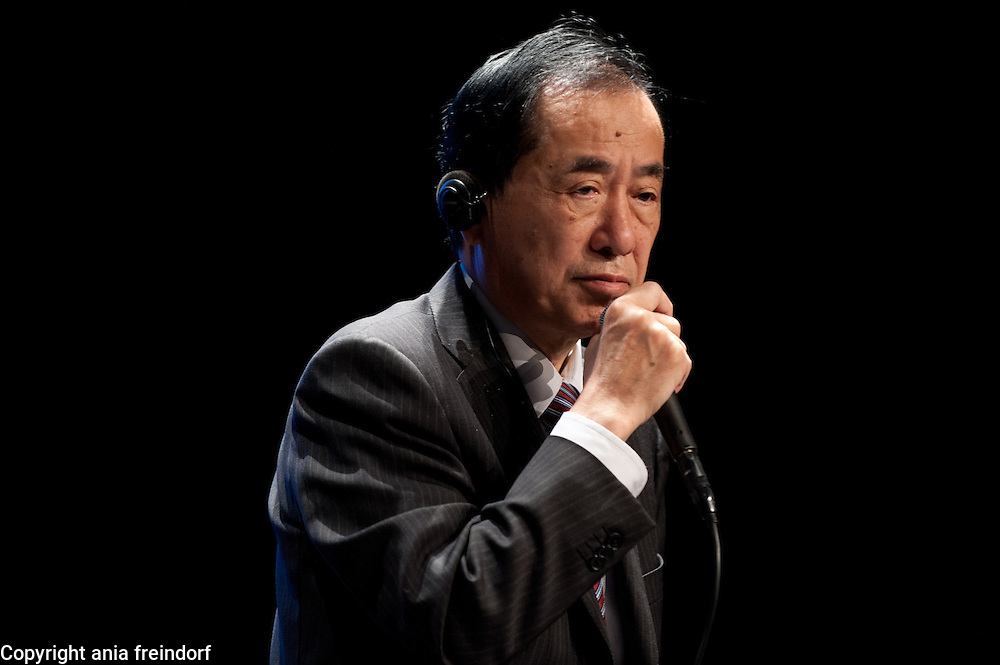 """Conference """"Fukushima, nuclear accident - four years later"""", Green Cross Paris, France, (center) Naoto Kan ancient Prime Minister of Japan, he resigned six months after the Fukushima nuclear accident."""