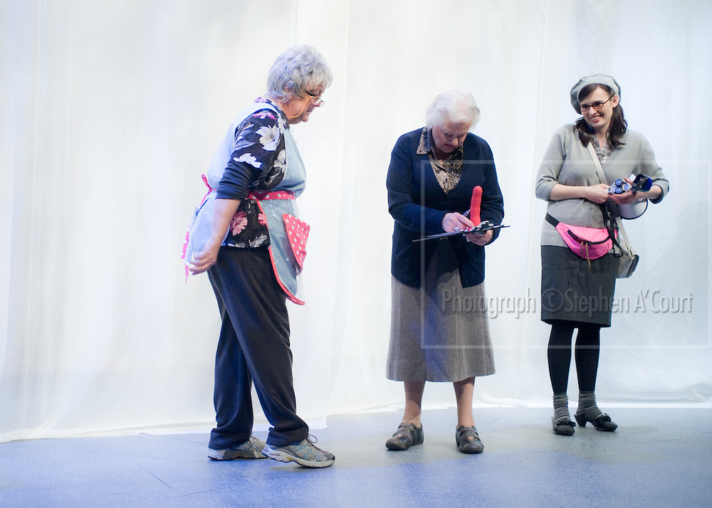 L-R: Geraldine Brophy, Kate Harcourt, Nikki MacDonnell. The stage play Sex Drive, at Circa Theatre, Wellington, 15 Oct - 12 Nov 2011. Written by Lorae Parry and Pinky Agnew, directed by Jane Waddell.