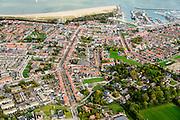 Nederland, Zeeland, Zeeuws-Vlaanderen, 19-10-2014; overzicht centrum Breskens met dorpsstraat richting Spuiplein<br /> Downtown Breskens with its mainstreet Villagestreet (Dorpsstraat).<br /> <br /> luchtfoto (toeslag op standard tarieven);<br /> aerial photo (additional fee required);<br /> copyright foto/photo Siebe Swart