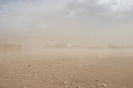 Mongolia. sand storm , wind in Bat Olzi , village of the Orkhon valley in winter  arkhangai province -