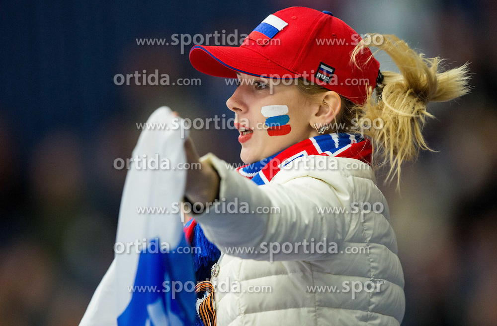 Fan of Russia during Ice Hockey match between Russia and Denmark at Day 6 in Group B of 2015 IIHF World Championship, on May 6, 2015 in CEZ Arena, Ostrava, Czech Republic. Photo by Vid Ponikvar / Sportida