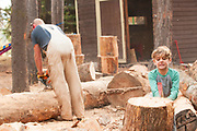 Little boy helps chop wood, McCall, Idaho. MR