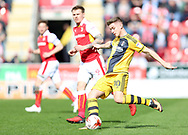 Tom Cairney of Fulham passes the ball during the Sky Bet Championship match at the New York Stadium, Rotherham<br /> Picture by James Wilson/Focus Images Ltd 07709 548263<br /> 01/04/2017