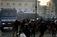 ITALY, Rome, October 15, 2011 : Protesters attack a Police van during a demonstration in Rome on October 15, 2011. © Christian Minelli/Emblema.