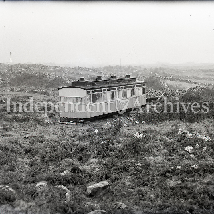 Old West Clare railway carriage Spiddal, 1959.<br />