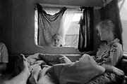 Girls hanging out in their van, Ashton Court Festival, Bristol, UK, 1995.