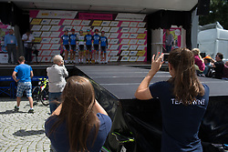 Team WNT stands on the sign-on podium before Stage 3 of the Lotto Thuringen Ladies Tour - a 124 km road race, starting and finishing in Weimar on July 15, 2017, in Thuringen, Germany. (Photo by Balint Hamvas/Velofocus.com)