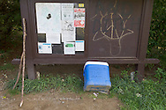 "Vernon, New Jersey - A cooler of ""Trail Magic"" and hiking poles at the Appalachian Trail on the way to Wawayanda Mountain on Sept. 22, 2012."