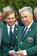 US Captain Nathaniel Crosby and John Augenstein during the Walker Cup Opening Ceremony, Friday at the Royal Liverpool Golf Club, Friday, Sept 6, 2019, in Hoylake, United Kingdom. (Steve Flynn/Image of Sport)