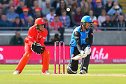 Tom Fell of Worcestershire plays a ramp shot during the Vitality T20 Finals Day Semi Final 2018 match between Worcestershire Rapids and Lancashire Lightning at Edgbaston, Birmingham, United Kingdom on 15 September 2018.