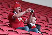 Bristol City fans before kick off of the Sky Bet Championship match between Bristol City and Charlton Athletic at Ashton Gate, Bristol, England on 26 December 2015. Photo by Jemma Phillips.
