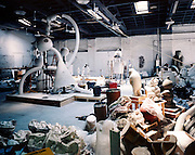 Tom Otterness studio in DUMBO 2001 with See No Evil and The Kipper Eater July 2002