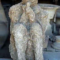 Plaster Cast of Volcano Victim in Pompeii, Italy<br />