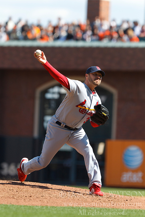 April 8, 2011; San Francisco, CA, USA;  St. Louis Cardinals starting pitcher Jake Westbrook (35) pitches against the San Francisco Giants during the fourth inning at AT&T Park.  San Francisco defeated St. Louis 5-4 in 12 innings.