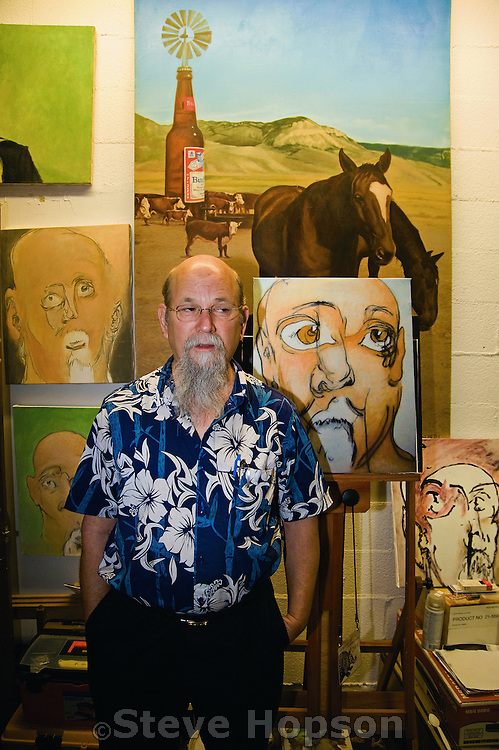 Artist Jim Franklin in his studio at the South Austin Museum of Popular Culture, Austin Texas, April 1, 2009.  Jim Franklin (born 1943) is an artist known for his poster art and paintings created for the Armadillo World Headquarters, a legendary Austin music hall.