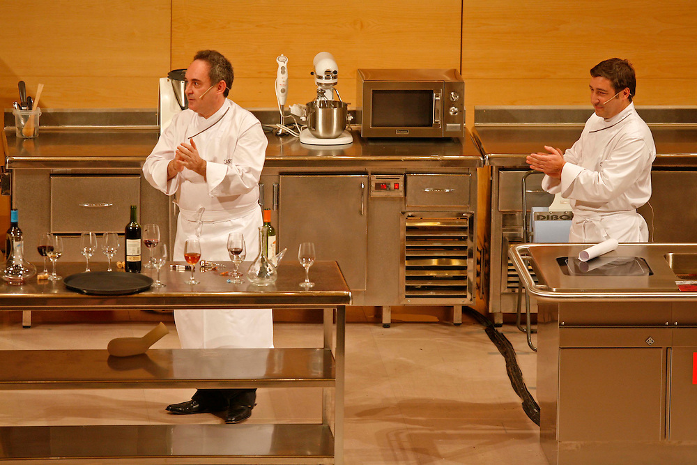 The best Catalan cooks of the guide Michelin. Chefs Ferran Adria (left) of restaurant El Bulli and Joan Roca of restaurant El Celler de Can Roca, in a gastronomical exhibition.
