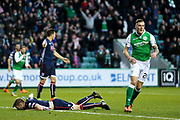 Anthony Stokes (#28) of Hibernian celebrates Hibernian's first goal (1-1) during the Ladbrokes Scottish Premiership match between Hibernian and Ross County at Easter Road, Edinburgh, Scotland on 23 December 2017. Photo by Craig Doyle.