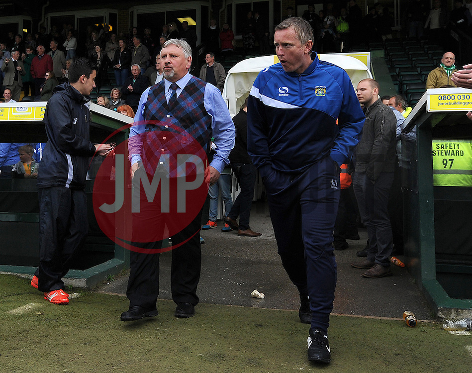 Yeovil Town's Manager Paul Sturrock and Yeovil Town Coach Terry Skiverton - Photo mandatory by-line: Harry Trump/JMP - Mobile: 07966 386802 - 25/04/15 - SPORT - FOOTBALL - Sky Bet League One - Yeovil Town v Port Vale - Huish Park, Yeovil, England.
